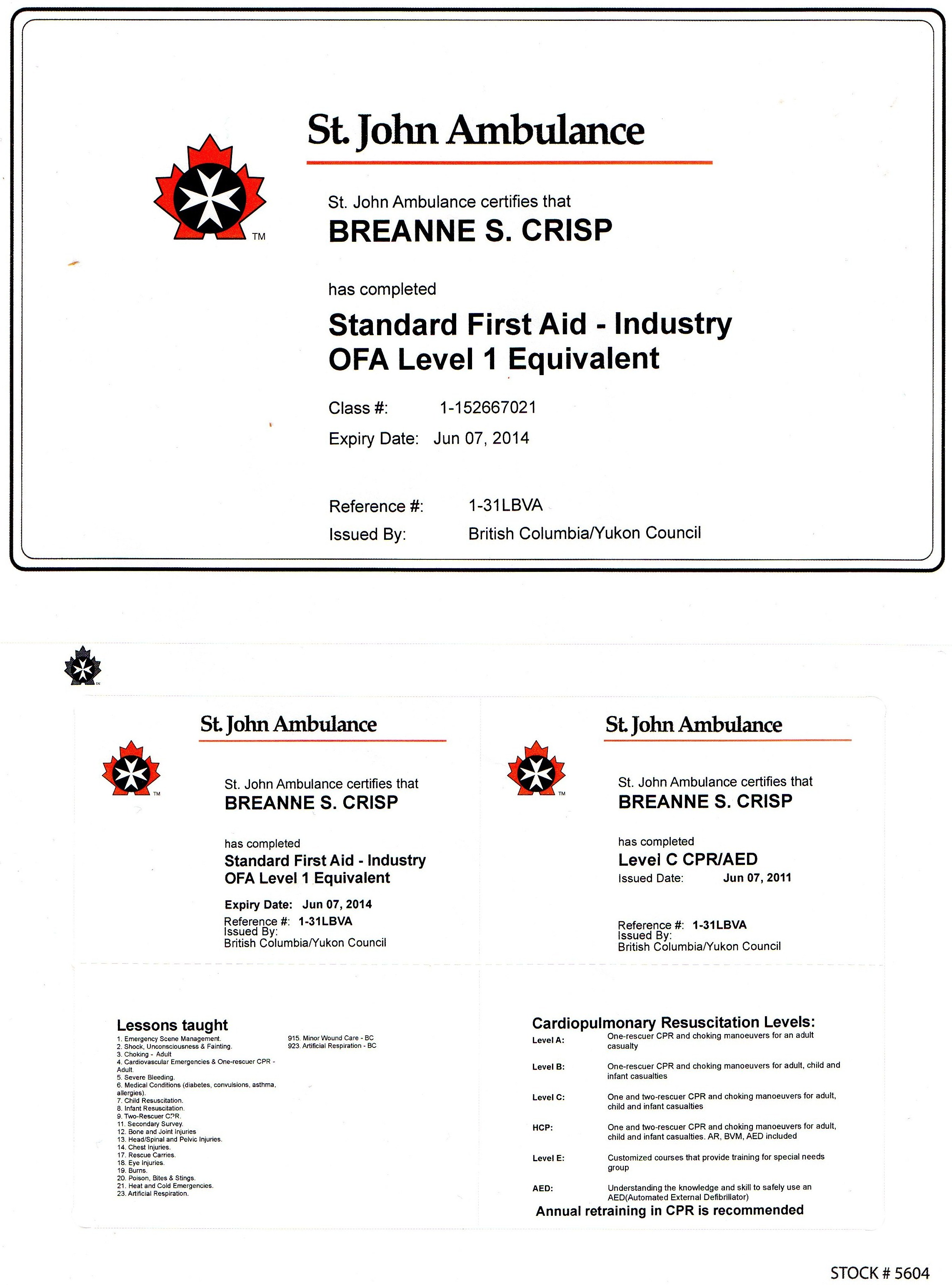 Rsum breanne crisp first aid industry ofa level 1 equivalent and level c cpraed 2011 xflitez Gallery