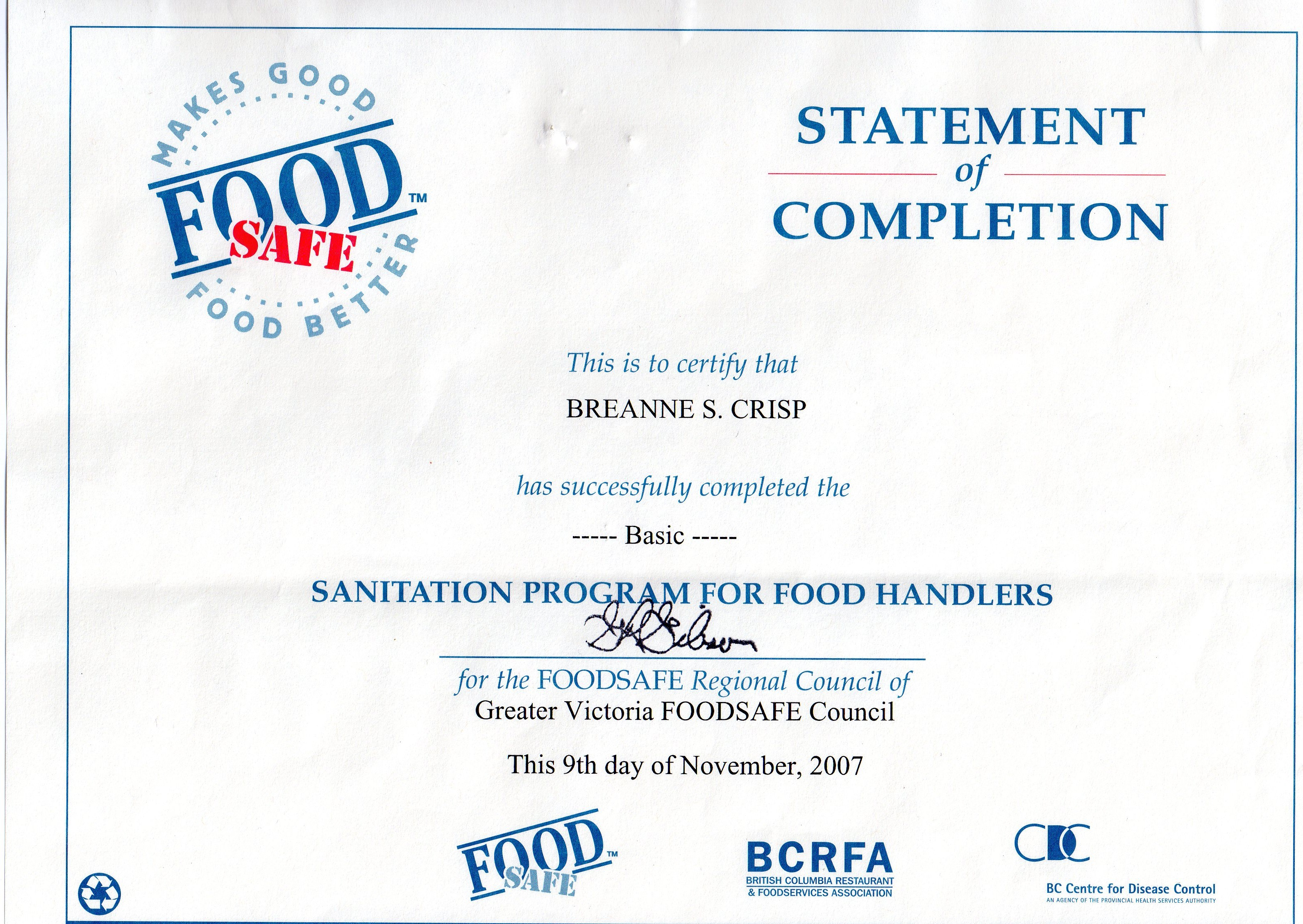 Food safe certification bc food food safe certification recipe 1betcityfo Image collections